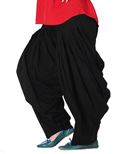 Ekam Art Women\'s Cotton Full Punjabi Patiala Bottom Salwar (PS 1-A, Black , Free Size)
