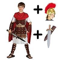 A2ZFD Boys Roman Centurion Gladiator Sparticus Fancy Dress COSTUME + ROMAN HELMET (FABRIC) + SWORD - Size: 11 - 13 years