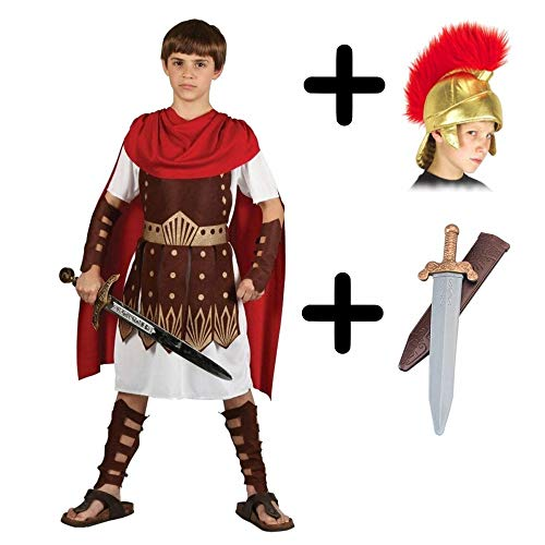 Kostüm Roman Guard - A2ZFD Boys Roman Centurion Gladiator Sparticus Fancy Dress COSTUME + ROMAN HELMET (FABRIC) + SWORD - Size: 5 - 7 years