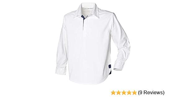 83c46841481 Front Row Mens Long Sleeve plain drill Cotton Rugby shirt Navy,White:  Amazon.co.uk: Sports & Outdoors