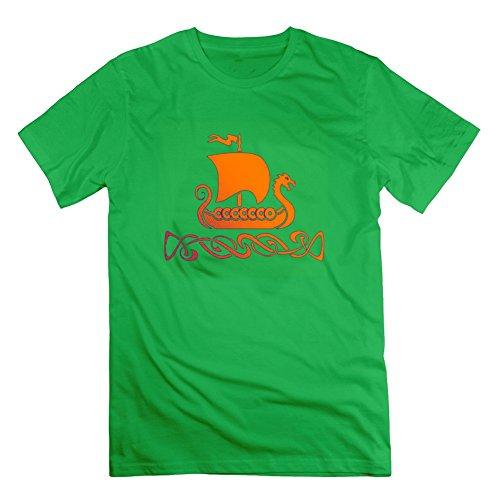 Herren Top Kleidung Casual Viking bedruckt Größe mit Baumwolle Farbe xl grün (Athletic Kleidung Works)