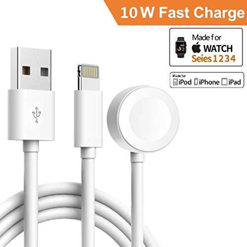 ATETION 2 en 1 Cable Cargador de teléfono y estación de Carga Compatible para Apple Watch Soporte para Apple iWatch Series 4/3/2/1/iPhone X XS MAX/8 Plus/8