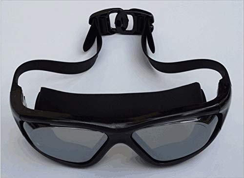 MHP Schwimmbrillen für Erwachsene, die flaches Licht Unisex-Schutzbrillen mit großem Rahmen für Unisex, schwarz