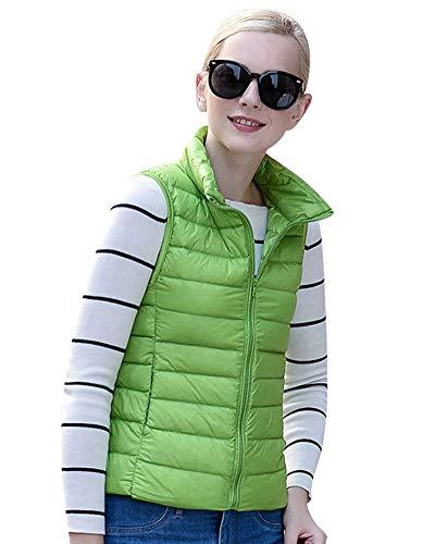 Donna Giacche Smanicato Piumino Cappotto Cerniera Lampo Trapuntato Packable Giacca Verde M