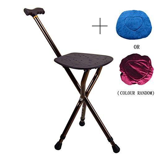 Wentao bastone da passeggio con sedile sedile pieghevole canna per disabili anziani/lega di alluminio/altezza regolabile/altezza 83-93 cm, 5 regolazione ingranaggi/caricamento statico 200 kg, brown