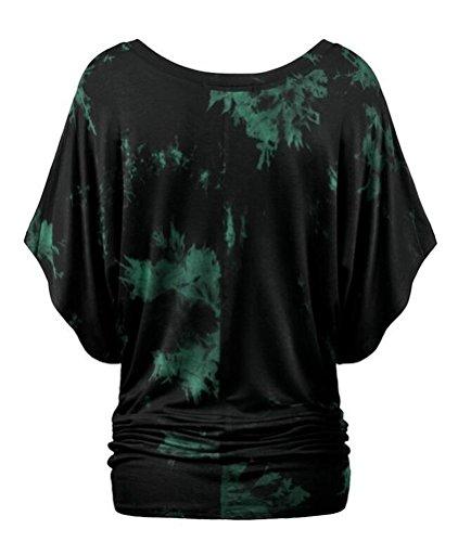 SMITHROAD Damen T-Shirt mit Aufdruck Print und Fledermausärmel Kurzarm Tunika Rundhals Ausschnitt Loose Fit S-XL Farbe 11