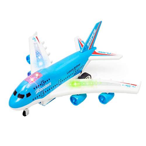 Lazzgirl Air Bus 747 Fernbedienung Flugzeug Elektrische Fernbedienung Flugzeug Kindspielzeug(Abs,Blau)