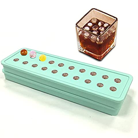 Lot de 2) Mini 20Cavités mold| Ice Cube plateau à glaçons en silicone | Glaçons DIY Moules | Candy | perles billes Grain Café Fruits Grain Lovely Glace particules 2