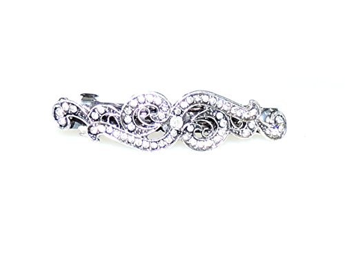 Ladies Girls Vintage Silver Tone Crystal Sparkly Swirl Hair Barrette by Glamour Girlz (Christmas Womens Fancy Dress Ideen)