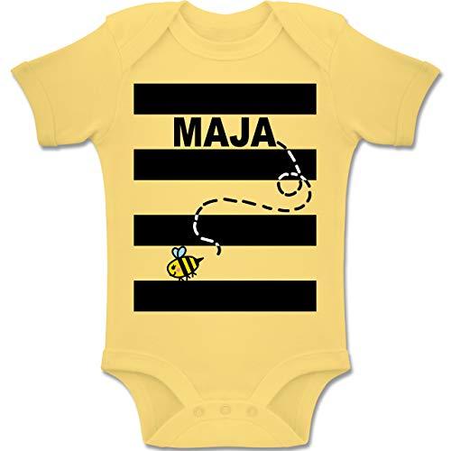 Shirtracer Karneval und Fasching Baby - Bienen Kostüm Maja - 1-3 Monate - Hellgelb - BZ10 - Baby Body Kurzarm Jungen - Baby Mädchen Biene Kostüm