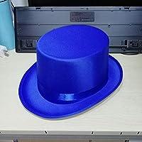 Sunbohljfjh Mago Sombrero de Copa Hombres y Mujeres Sombrero de Copa Plana Hombres de Verano Retro Negro Rojo Morado Azul Sombrero para el Sol Alto 13 cm