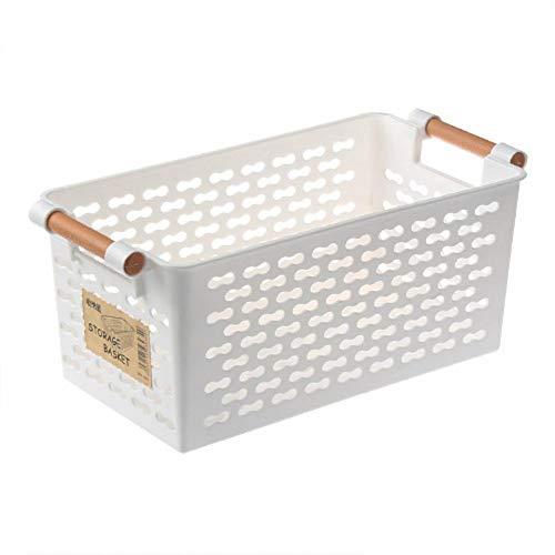 LY/WEY Plastic Desktop Storage Basket Rectangular Bathroom Portable Storage Box Bath Basket Kitchen Debris Multi-Purpose Baskets,White