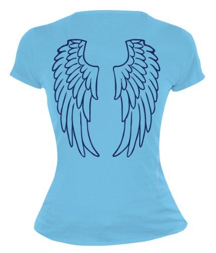 buXsbaum Damen Girlie T-Shirt Engelsflügel | Rückendruck | Karneval Fasching Halloween Kostüm Funshirt | M, Blau