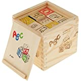 ABC 123 Wooden Blocks Letters Numbers Educational Learning Toys With Box Storage Case, Building Block With Wooden Box Children Puzzle Education Toy (27 Pieces)