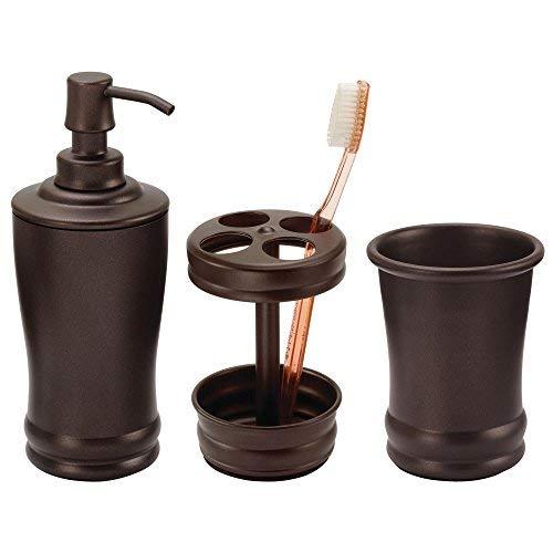 mDesign Classic Seifenspender Pumpe Zahnbürstenhalter Ständer Zahnputzbecher Becher für Bad Waschtisch - 3er Set Bronze