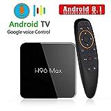 H96 MAX TV Box 4GB + 64GB ROM, Control Remoto Inteligente de Voz S905X2 CPU Quad Core 64bits, 4K Soporte Ultra HD 2.4G / 5.8GHz Dual WiFi 100M LAN H.265 3D Bluetooth 4.0 Set Top Box