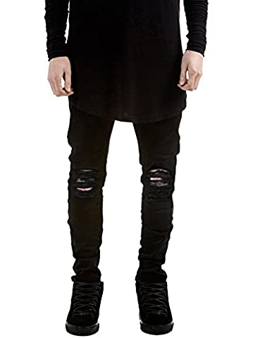 Herren Hose Ripped Jeans Slim-Fit Stretch-Destroyed Zerrissen Denim schwarz