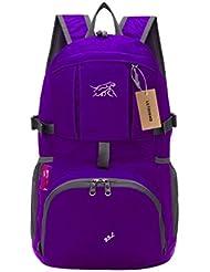 lethigho Bolsa plegable Ultra Ligera Resistente al agua plegable Packsack portátil de viaje Camping Exterior Mochila para Hombres y Mujeres Morado morado