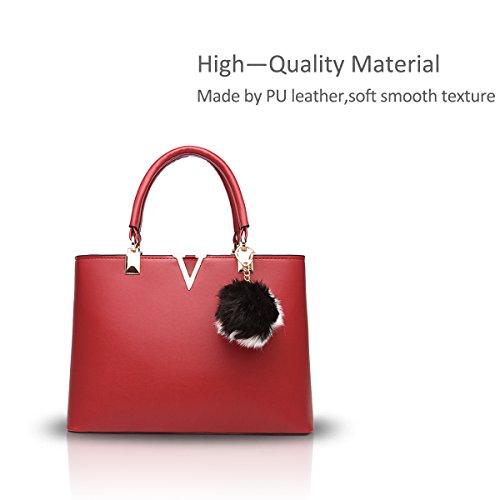 Nicole&Doris molla tendenza nuova borsa della moda minimalista per le donne sacchetto di spalla casuale(Red wine) vino rosso