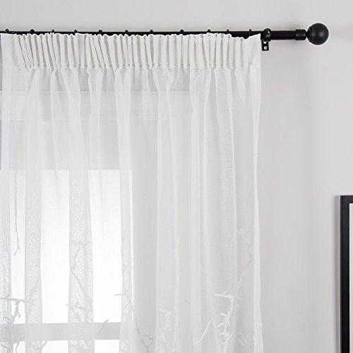 Top finel ricamato rmai voile tende con nastro tende per finestre pura parete moderne decorativo porta balcone per camere da letto, 300x250cm,1 pezzo, colorato, colore bianco