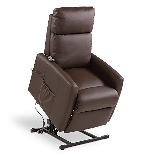 maxVitalis Aufstehsessel mit Vibrations-Massage, Massagesessel stufenlos elektrisch verstellbar, Liegefunktion, inkl. Seitentasche, hochwertiges Kunstleder, mit Fernbedienung, bis 120 kg (Braun)