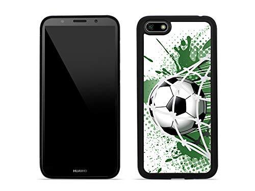etuo Huawei Y5 (2018) - Hülle Aluminum Fantastic - Ball im Tor - Handyhülle Schutzhülle Etui Case Cover Tasche für Handy