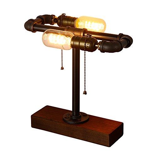 INJUICY Vintage Industriel Socle en Bois de Métal Lampes de Table, Antique Fer Forgé Conduite D'eau Steampunk Lampe de Bureau Lampe à Poser pour Chevet Café Bar Salon Chambre Lampe de Nuit