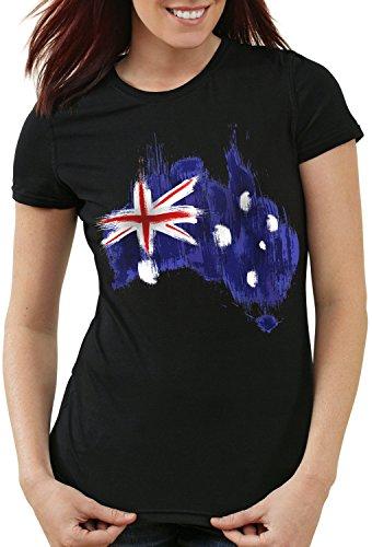 CottonCloud Flagge Australien Damen T-Shirt Fußball Sport Australia WM EM Fahne, Farbe:Schwarz, Größe:M - Australien Trikot