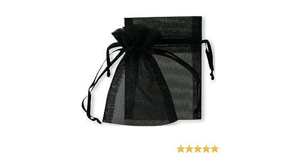 12 x 17 cm Lot de 50 sachets//pochettes en organza Noir Couleur
