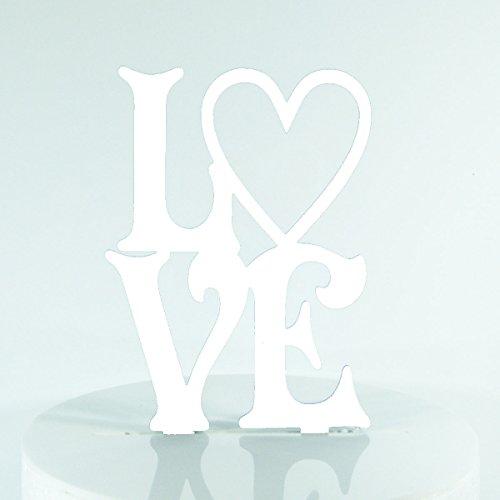 Blumenherz-Kuchenaufsatz, für die Hochzeit oder Verlobung geeignet, spiegelnd, aus Acryl, Scherenschnitt-Optik weiß