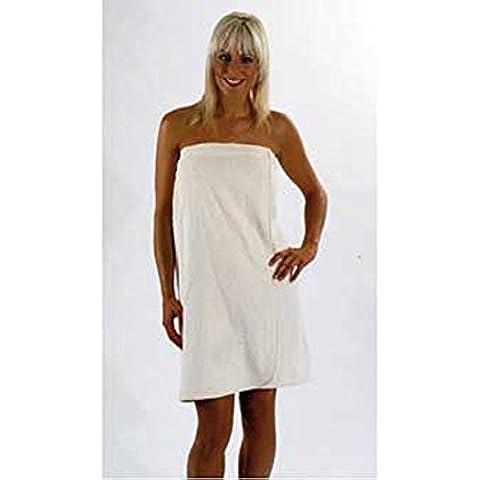 Sarong da donna in spugna, Wrap-Asciugamano da bagno, color panna,