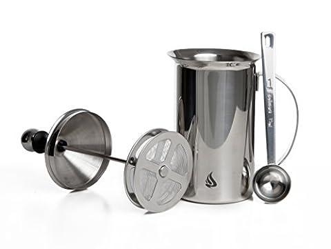 Bellmani 600 ml Milchaufschäumer + Messlöffel aus Edelstahl mit Doppelsieb erzeugt cremigen Milchschaum für 3 Tassen Cappuccino oder Espresso Macchiato