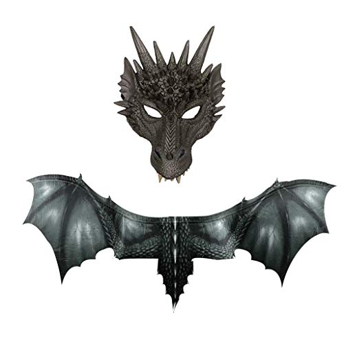 Rokoy costume da drago malvagio di halloween, stampa 3d maschera di dinosauro realistica costume ali accessori per bambini e adulti,accessori per cosplay di halloween decorazione del partito