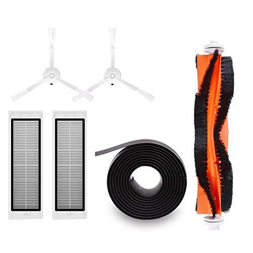 WOVELOT Pieces de Rechange pour aspirateur pour Xiaomi Roborock Mi Robot Kits Filtres 2pc Brosses laterales 2pcs Brosse Principale 1pc Mur virtuel magnetique 1pc