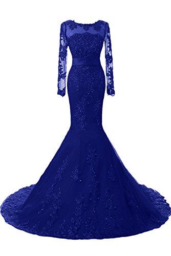 TOSKANA BRAUT Brautmode Hochwertig Mermaid Abendkleider Lang mit Spitze Party Fest Prom Ball Brautkleider Royal Blau-1