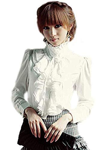 7a73e83d502982 BININBOX Damen Bluse Langarm Elegant Stehkragen mit Puffärmeln und Volants  Rüschung (38, Weiß)