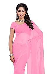 Vivera Women's Plain Georgette saree without blouse piece (VR_BABYPINK)