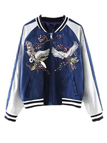 Ecollection Damen Jahrgang Bomberjacke Kran Stickerei Klassisch Bikerjacke Mantel Vintage Bomber Jacket Phoenix Crane Embroidery Classic Zip...