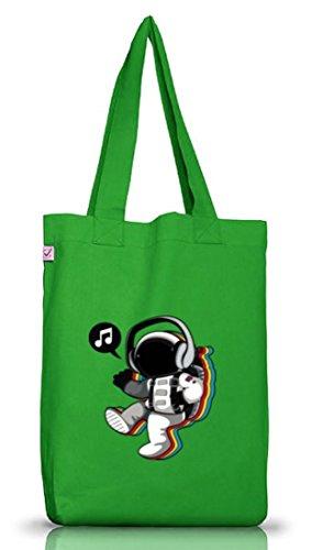 Musik Jutebeutel Stoffbeutel Earth Positive mit Groovy Astronaut Motiv Kelly Green