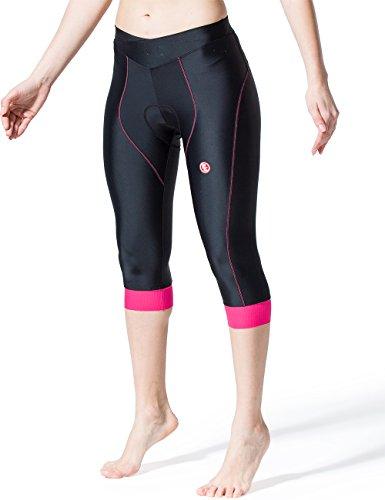 Souke Sports Short de Cyclisme pour Femme 4d rembourré Confortable Cyclisme Pantalon 3/4Vélo Corsaire L 3/4length - Red