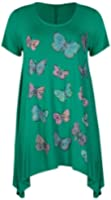 Womens Butterfly Print Ladies Stretch Uneven Hanky Hem Round Scoop Neckline Bead Glitter Long T-Shirt Top Plus Size