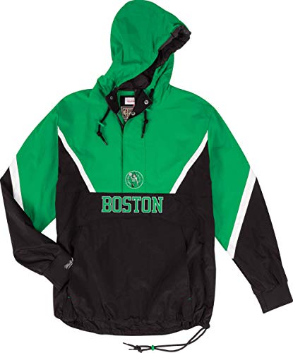 Mitchell & Ness Boston Celtics Half Zip Anorak Jacket Windbreaker NBA HWC Jacke(L,Green)