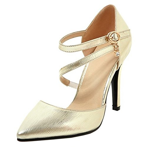 TAOFFEN Femmes Escarpins Mode Aiguille Talons Hauts Pointu Chaussures De Boucle Or