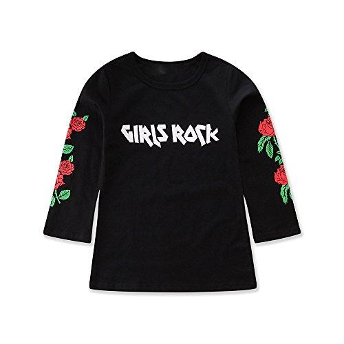 Kinder Niedliches Langärmliges Kleid mit schwarzen Rosen YunYoud lang kleidchen kinderbekleidung...
