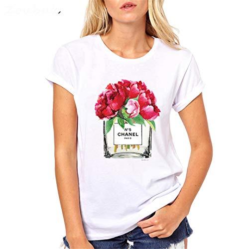 Sommer Frauen Blume ParfüM Mode Oansatz Kurzarm Tops Weiß T-Shirt 51876 XL