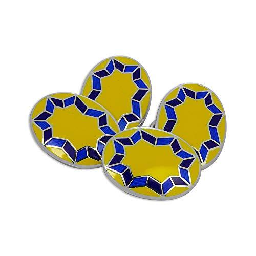 Boutons de Manchette Ovales Etoilés Jaunes et Bleus en Argent 925/1000 et Email - A chaînette