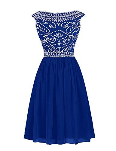 Dressystar Robe femme, Robe de soirée/gala courte, à strass paillettes, en mousseline Bleu Saphir