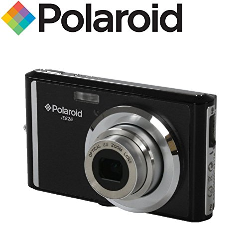 "Ultra Compact Digital Camera da 18 megapixel Polaroid IE826 (18MP 8x zoom ottico, Li-Ion, 2,4 ""di schermo) (nero)"