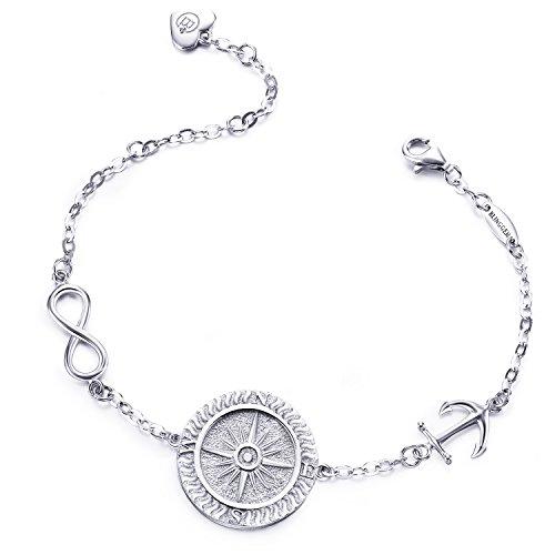 BlingGem Kompass Armband Damen Egal Wo 925 Sterling Silber Scheibe Armband Richtung Gravur Weihnachtsgeschenk für Damen/Frauen