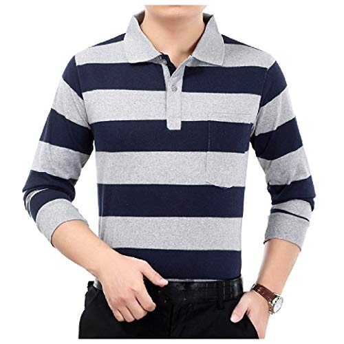 Stripe Long Sleeve Thermal (CuteRose Men's Summer Long Sleeve Stripes Tees Top Polo Shirt Tees Top AS5 XL)